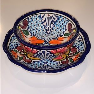 Mexican Pottery Dip Bowl With Matching Plate